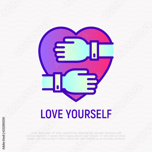 Love yourself thin line icon: hands hug heart  Modern vector