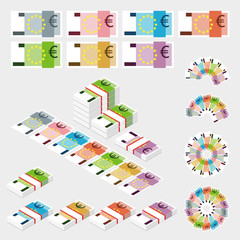 Set of money isolated on light background. Euro banknotes packed in bundles. Flat style.