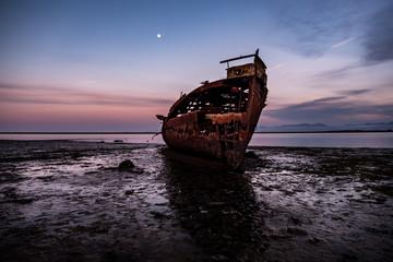 In de dag Schipbreuk Motueka Ship Wrecked. The famous ship in tasman coast area.
