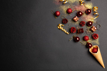 Fotoväggar - Christmas background with ice-cream cones