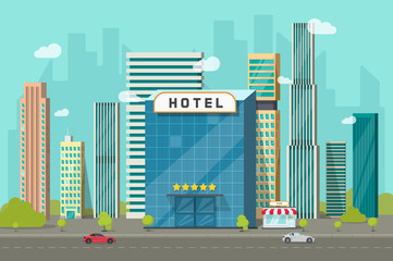 Hotel in the city view vector illustration, flat cartoon hotel building on street road and big skyscraper town landscape, font view cityscape panorama clipart