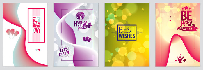 Birthday greeting card vector design. Includes lettering composition and balloons combined with wavy fluid colorful shape abstract backgrounds collection.