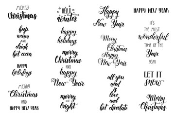 Hand made Set of lettering Xmas phrase. Merry Christmas and Happy New Year. Festive lettering phrase on white. 2019.