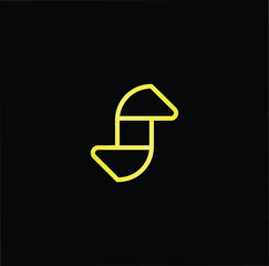Initial letter S SS minimalist art logo, gold color on black background.