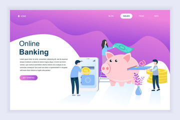 Modern flat design concept of Online Banking for website and mobile website development. Landing page template. Electronic bank payment or customer support. Vector illustration.