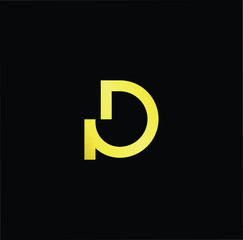Initial letter GD DG minimalist art logo, gold color on black background.