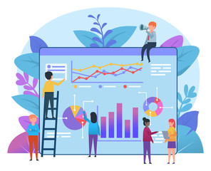 Small people working near big page with charts and diagrams. Business statistics, report, presentation. Flat design vector illustration