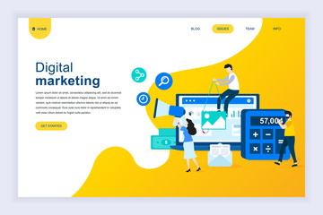 Modern flat design concept of Digital Marketing for website and mobile website development. Landing page template. Business analysis, content strategy and management. Vector illustration.