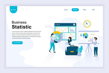 Modern flat design concept of Business Statistic for website and mobile website development. Landing page template. Consulting for company performance, analysis. Vector illustration.