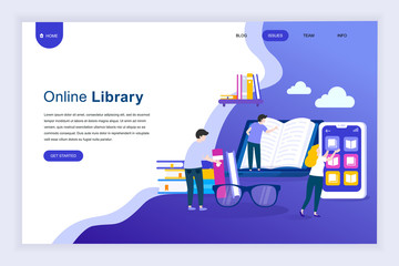 Modern flat design concept of Online Library for website and mobile website development. Landing page template. Technology and literature, digital culture on media library. Vector illustration.