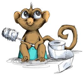Affenbaby sitzt auf Toiletten Töpfchen mit Klobürste