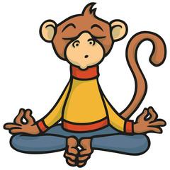 Cartoon Affe macht Meditation oder Yoga