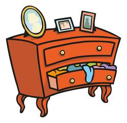 Rote Holz Kommode die mit Wäsche überquillt