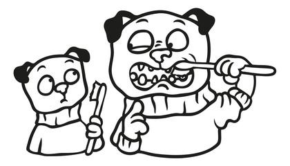 Mops Vater bringt Kind das Zähneputzen bei