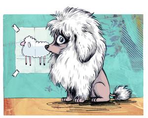 Pudel mit modischer Frisur inspiriert von Schaf