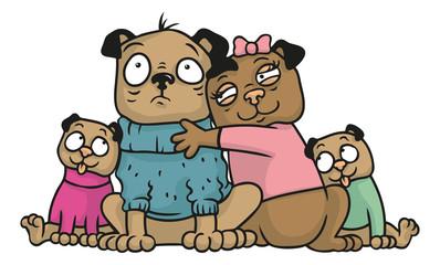Portrait Illustration einer Mops Familie mit Kindern