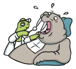 Walross Patient zur Untersuchung bei Zahnarzt