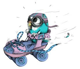 Blauer Wellensittich in Rollstuhl als Rennfahrer