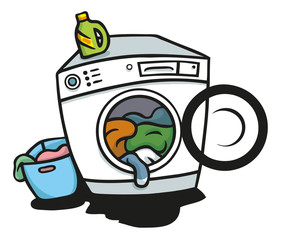 Waschmaschine mit Wäsche und Waschmittel