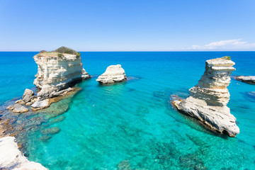 Sant Andrea, Apulia - Relaxing at the beach of the famous cliffs