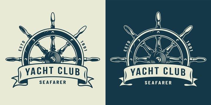 Vintage monochrome maritime logo