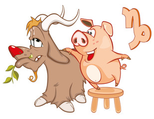 Illustration of a Cute Pig. Astrological Sign in the Zodiac Capricorn. Cartoon Character