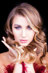 Luxury woman portrait with perfect hair and make-up blonde woman