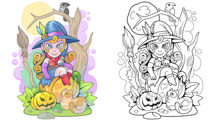 Cartoon cute witch sitting on a pumpkin, funny illustration