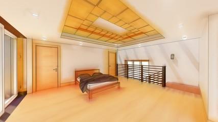 3d illustration of living room and kitchen interior design. 3d rendering.