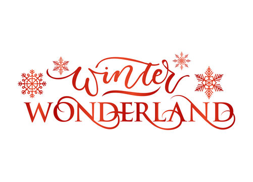 Winter wonderland inspirational holidays card with lettering