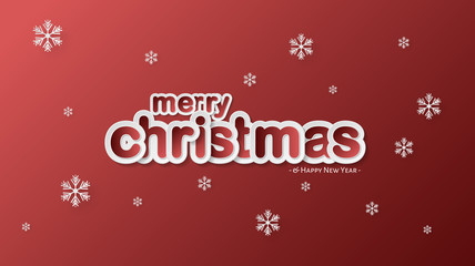 Paper Cut, Card, Banner, Merry Christmas and Happy New Year Background