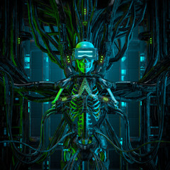 The virtual quantum reaper / 3D illustration of science fiction human android gamer skeleton wearing virtual reality glasses hardwired to computer core