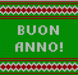 Knitted Lettering. Happy New Year. Text in italian. Imitation knitting fabric. Multicolor knitting - letters and ornament.