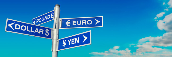 Guidepost Dollar, Euro, Pound and Yen Wall mural