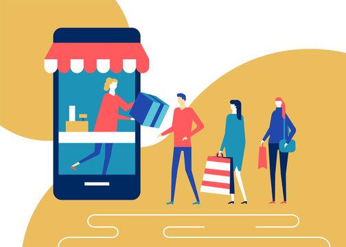 Shopping online - flat design style colorful illustration