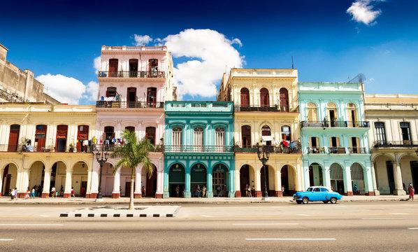 Havana street with colorful buildings high resolution panorama