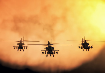 Printed roller blinds Helicopter Silhouette of helicopter, soldiers rescue helicopter operations on sunset sky background. Copter in smog. 3D illustration