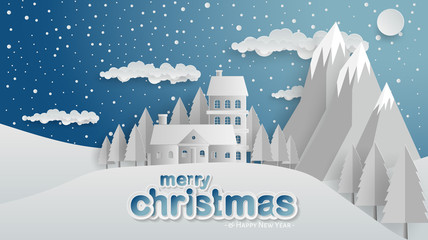 Winter, Village, Forest, Paper Cut, Merry Christmas and Happy New Year Background