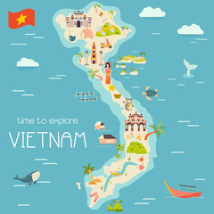 Vietnam cartoon map with destinations. elements