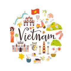 Vietnam cartoon vector banner. Travel illustration