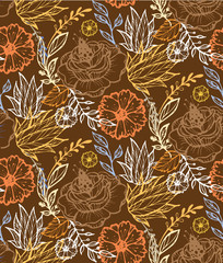 Hand drawn doodle floral pattern fabric textile wallpaper