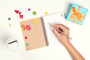 2019 Goals plans dreams. Make to do list for new year. Christmas concept. Writing in notebook. Woman hand holding pen on notebook. New year winter holiday Christmas