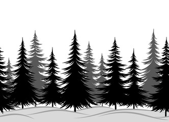 Christmas Horizontal Seamless Background, Winter Landscape with Black and Grey Fir Trees in Snow. Vector