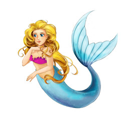 Photo sur Aluminium Mermaid cartoon young princess - smiling beautiful marmaid swimming - illustration for children