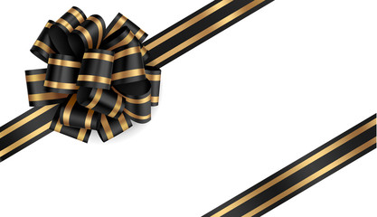 Wall Mural - Decorative black bow with diagonally ribbon on the corner. Vector bow for page decor
