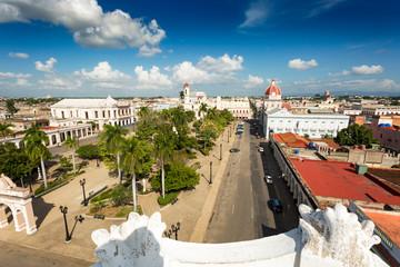 View over plaza de armas in Cienfuegos, Cuba