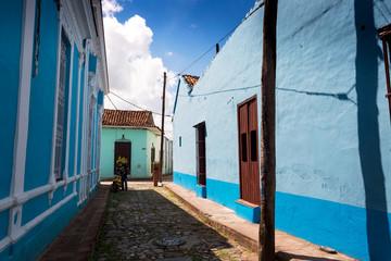Blue building in the narrow streets of Sancti Spiritus, Cuba