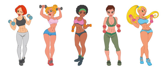 Set of sports girls with dumbbells