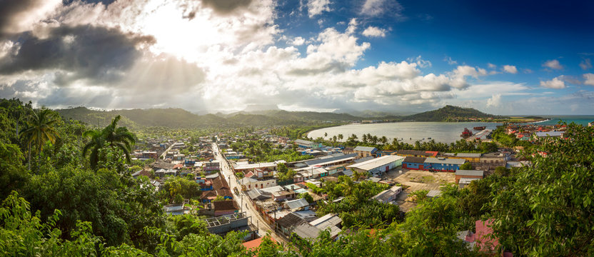 Panoramic view of Baracoa with El Yunque, Cuba