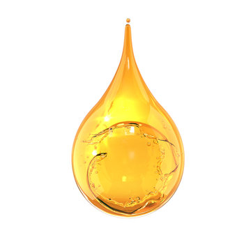 Olive or engine Oil drop isolate on white background.